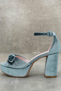 1960s Style Shoes Chinese Laundry Tina Steel Blue Velvet Platform Heels $80.00 AT vintagedancer.com