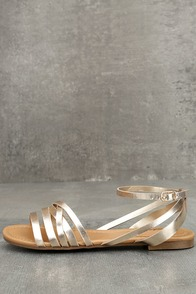 Zoila Champagne Ankle Strap Flat Sandals
