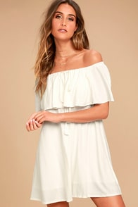 Melodic White Off-the-Shoulder Shift Dress