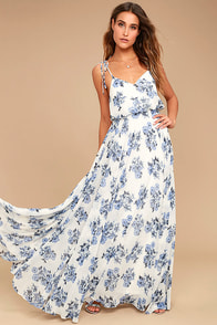 Pollen for You Blue and White Floral Print Maxi Dress