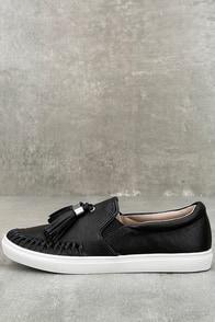 J Slides Cheyenne Black Leather Slip-On Sneakers
