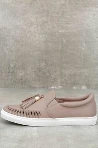 J Slides Cheyenne Nude Leather Slip-On Sneakers