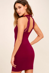 Endlessly Alluring Wine Red Lace Bodycon Dress