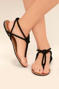 Sybil Black Suede Flat Sandals
