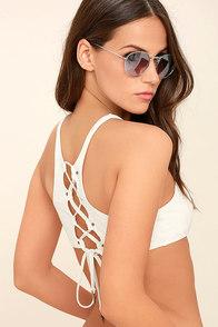 Dolce Vita High Neck Cream Lace-Up Bikini Top