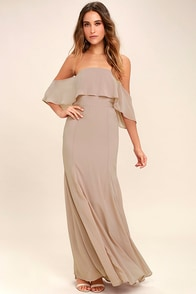 All My Heart Taupe Off-the-Shoulder Maxi Dress