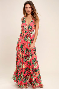 Countryside Manor Coral Red Floral Print Maxi Dress
