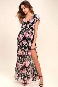 Where Wildflowers Grow Black Floral Print Maxi Dress