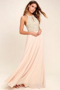 Principessa Blush Beaded Maxi Dress