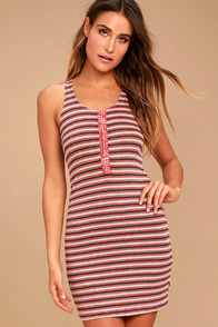 Project Social T Soul Sister Rusty Rose Striped Dress