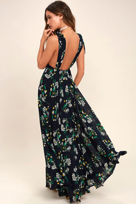 Remember the Days Navy Blue Floral Print Maxi Dress