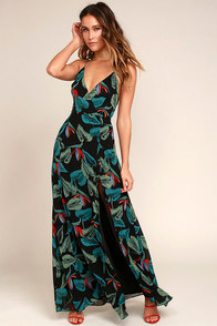 Birds of Paradise Black Floral Print Maxi Dress