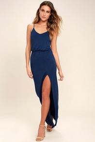 Watch the Sunset Navy Blue Maxi Dress
