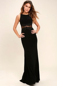 Optimum Elegance Black Lace Maxi Dress