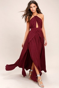 On My Own Burgundy Maxi Dress