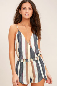 O'Neill Brenda Navy Blue Striped Romper