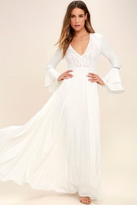 Lovely White Dress - Maxi Dress - Lace Dress - Long Sleeve Dress ...