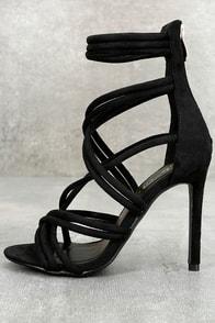 Aberdeen Black Suede Caged Heels