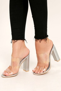 Anwen Silver Lucite Mules