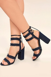 Claudine Dark Denim Lace-Up Heels