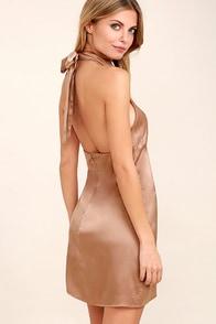 One Day Light Brown Satin Halter Swing Dress