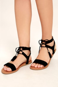 Keely Black Lace-Up Flat Sandals