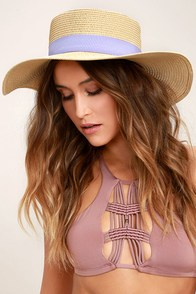 Down at the Derby Beige Straw Hat