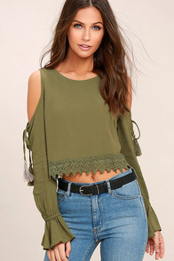 Trip to the Vineyard Olive Green Long Sleeve Lace Crop Top