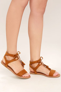 Keely Whisky Brown Lace-Up Flat Sandals