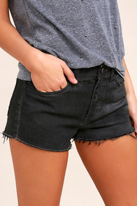 Off-Road Washed Black Cutoff Denim Shorts