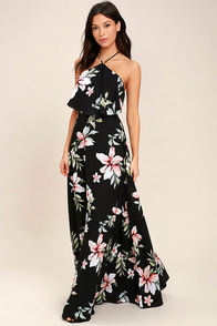 Peninsula Black Floral Print Maxi Dress
