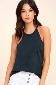 Others Follow Allyson Navy Blue Tank Top at Lulus.com!