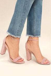 Taylor Nude Suede Ankle Strap Heels