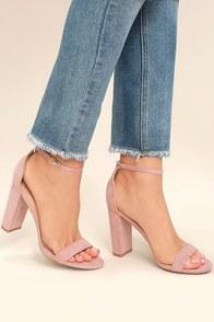 Taylor Blush Suede Ankle Strap Heels