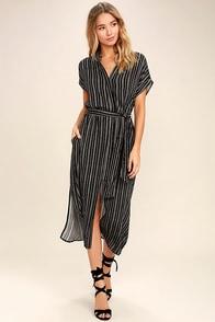Desire Lines Black and White Striped Midi Dress