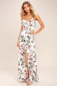 Bloom On Ivory Floral Print Maxi Dress