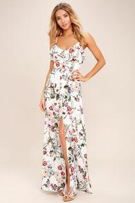 Lovely Blue Floral Print Dress - Maxi Dress - Halter Maxi - $59.00