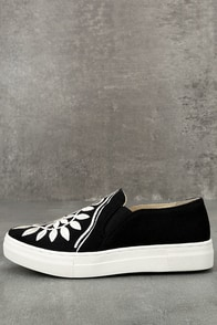 Seychelles Sunshine Black Canvas Embroidered Slip-On Sneakers