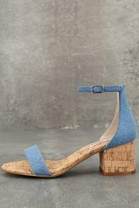 Steve Madden Irenee C Denim Cork Ankle Strap Heels