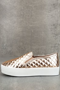 Cosima Rose Gold Quilted Flatform Slip-On Sneakers