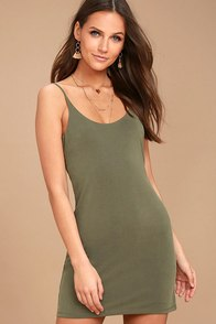 Fine Day Washed Olive Green Dress