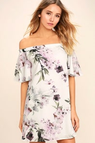Dream of You Ivory Floral Print Off-the-Shoulder Shift Dress