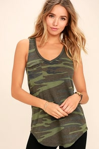 Now You See Me Olive Green Camo Print Tank Top