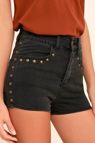 Amuse Society Rhea Washed Black High-Waisted Denim Shorts