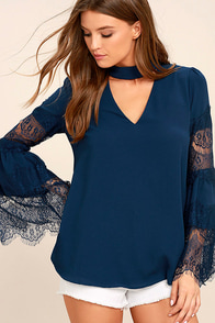 Step and Repeat Navy Blue Lace Long Sleeve Top