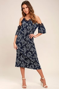 Moon River My Darling Navy Blue Print Off-the-Shoulder Dress