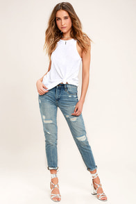 Blank NYC Pin-Up High Rise Medium Wash Distressed Skinny Jeans