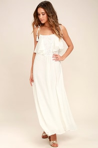 Moon River Now and Always Ivory Lace Maxi Dress