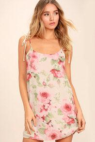I Choose You Ivory Floral Print Shift Dress