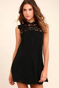 Hey Doll Black Lace Shift Dress